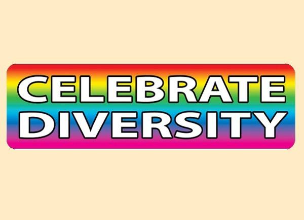 "PC456 Starshine Arts ""Celebrate Diversity"" Bumper Sticker"