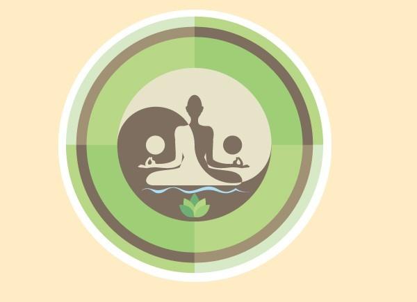 """SKY139 Starshine Arts 3"""" Green Yin Yang Woman Sticker"""