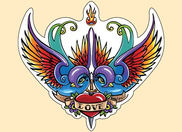 "STAR204 4.5"" ""Love Birds"" Sticker"