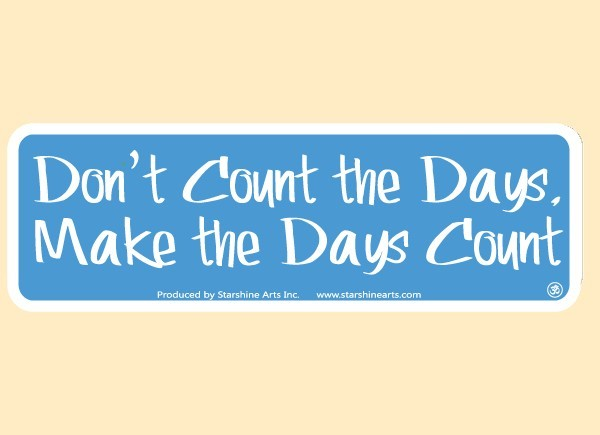 "PC459 Starshine Arts ""Don't Count The Days"" Bumper Sticker"