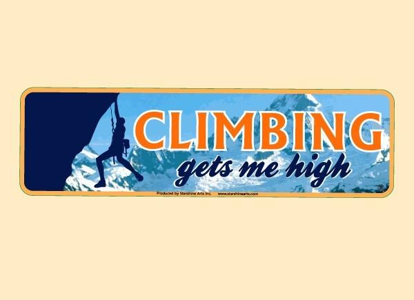 "PC467 Starshine Arts ""Climbing Gets Me High"" Bumper Sticker"