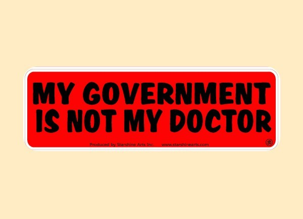 "PC476 Starshine Arts ""Government Doctor"" Bumper Sticker"