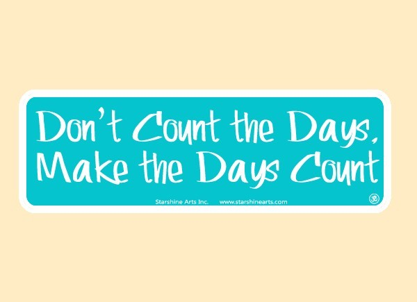 "JR531 Starshine Arts ""Don't Count The Days"" Mini Bumper Sticker"