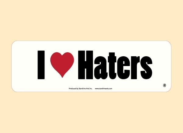 "JR549 Starshine Arts ""I Heart Haters"" Mini Bumper Sticker"