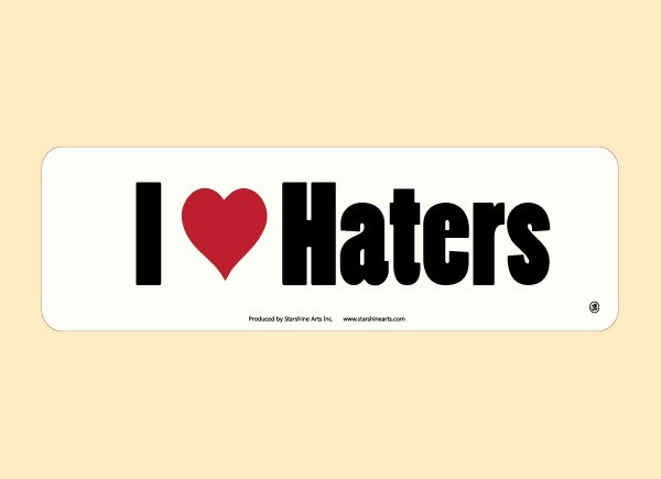 "JR539 Starshine Arts ""I Heart Haters"" Mini Bumper Sticker"