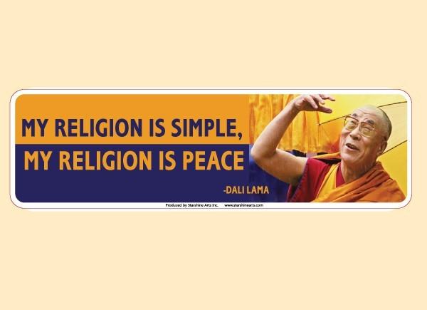 "JR538 Starshine Arts ""My Religion Is"" Mini Bumper Sticker"