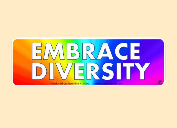 """JR543 Starshine Arts """"Embrace Diversity"""" Mini Bumper Sticker"""