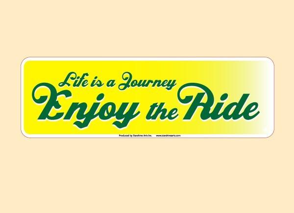 """JR546 Starshine Arts """"Life is a Journey"""" Mini Bumper Sticker"""