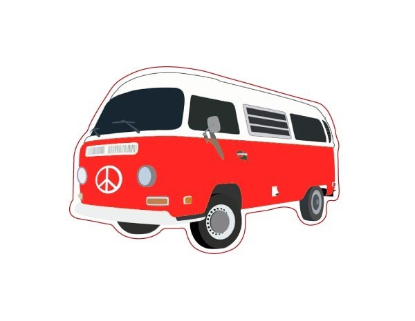 "SKY932 Starshine Arts 3""VW Bus Red""  Sticker"