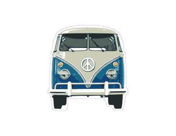 "SKY933 Starshine Arts 3"" VW Bus Blue""  Sticker"