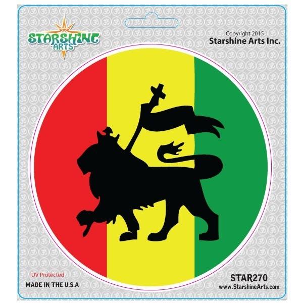 Star270 starshine arts rasta lion flag sticker