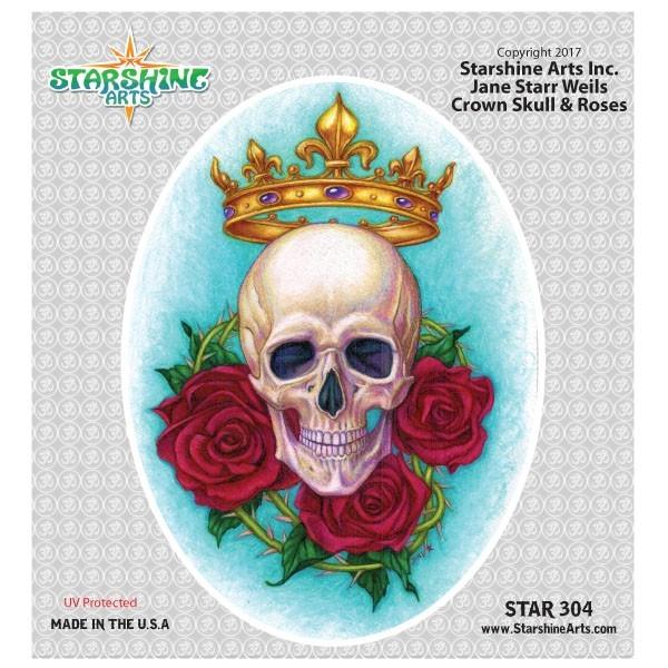 "STAR304 4.5"" ""Crown Skull & Roses"" Sticker"