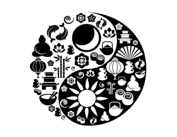"""STAR178 4.5"""" """"Yin Yang Symbols"""" Sticker"""