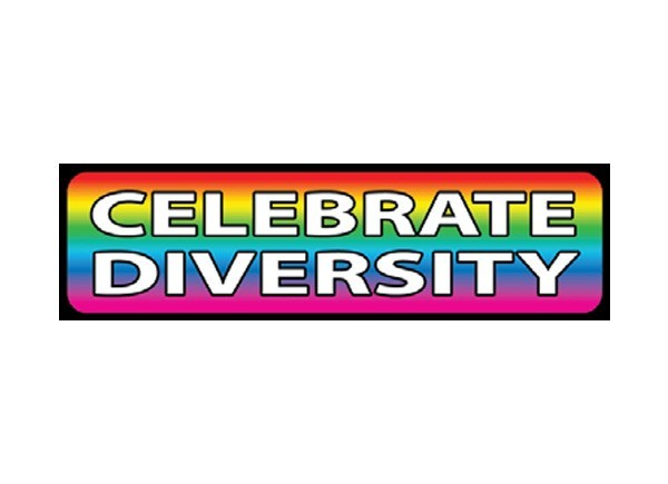 "JR25 Starshine Arts ""Celebrate Diversity"" Mini Bumper Sticker"