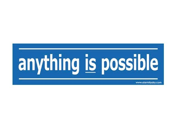 "JR136 Starshine Arts ""Anything is Possible"" Mini Bumper Sticker"