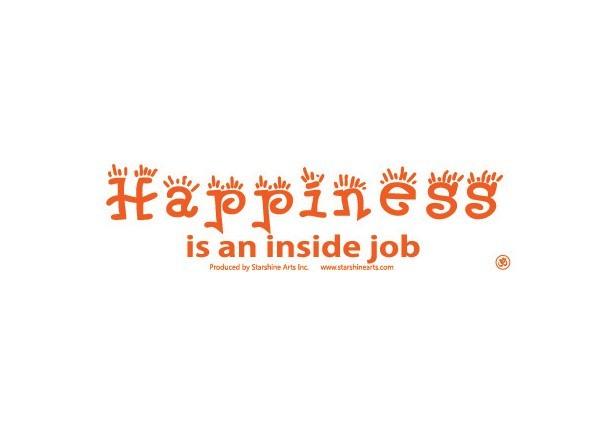 """JR341 Starshine Arts """"Happiness is an Inside Job"""" Mini Bumper Sticker"""