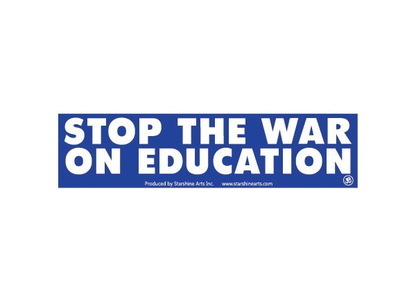 Jr344 starshine arts war on education mini bumper sticker