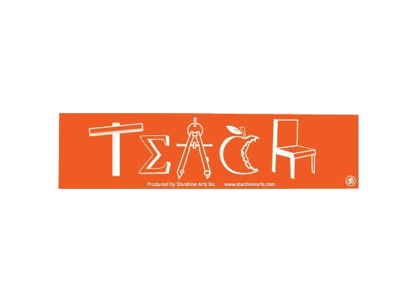 Jr345 starshine arts teach symbols mini bumper sticker
