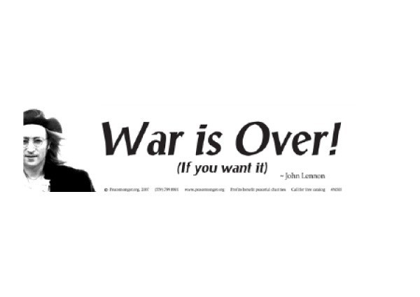"JR182 Peacemonger ""War is Over"" Mini Bumper Sticker"