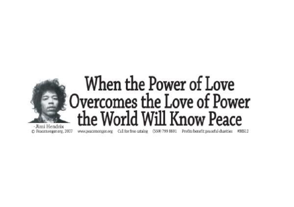 """JR183 Peacemonger """"Power of Love"""" Mini Bumper Sticker"""