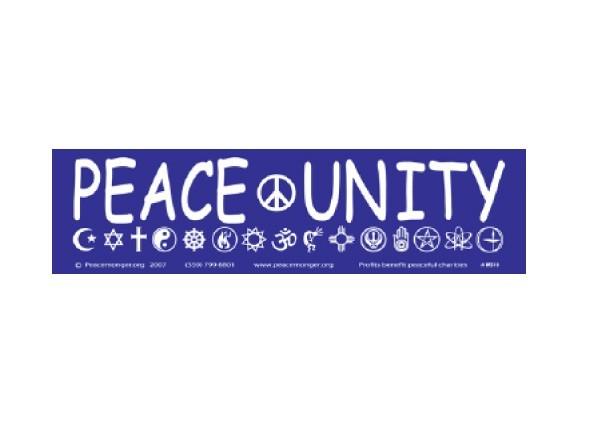 "JR184 Peacemonger ""Peace and Unity"" Mini Bumper Sticker"