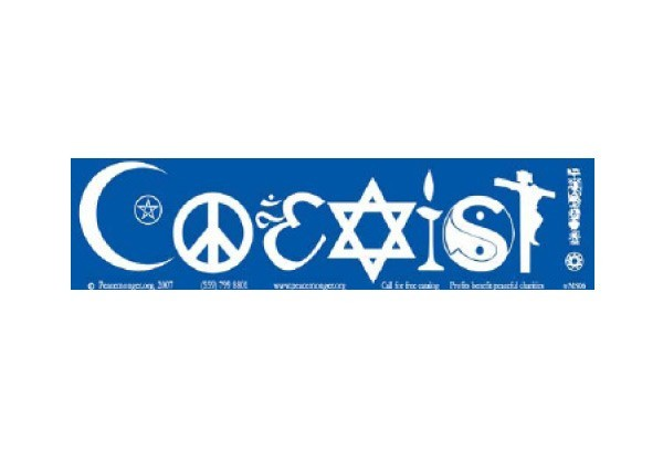 "JR186 Peacemonger ""Coexist Symbols"" Mini Bumper Sticker"