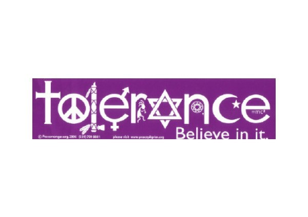 "JR189 Peacemonger ""Tolerance"" Mini Bumper Sticker"