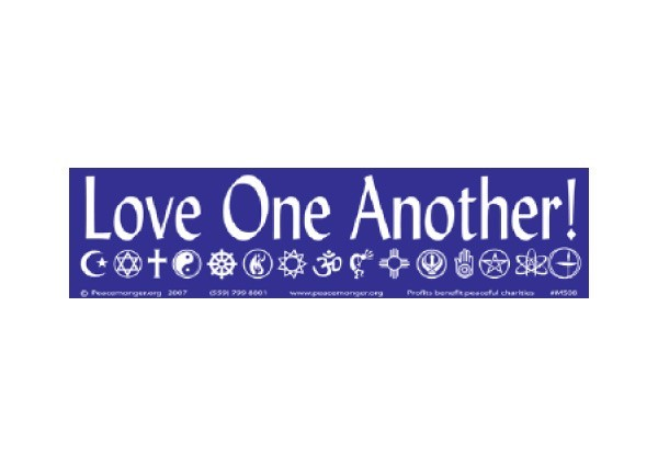 "JR191 Peacemonger ""Love One Another"" Mini Bumper Sticker"