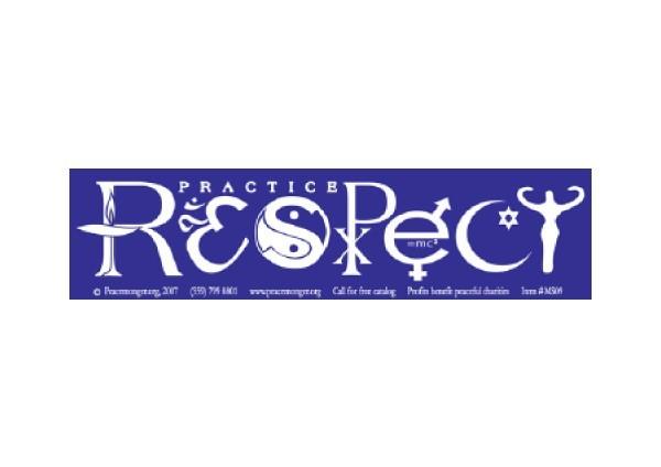 """JR192 Peacemonger """"Respect"""" Mini Bumper Sticker"""