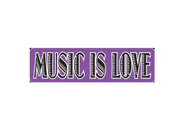 """JR26 New sKool """"Music is Love"""" Mini Bumper Sticker"""