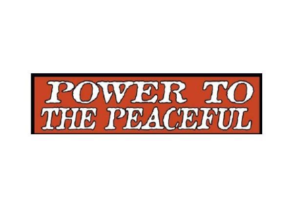 """JR46 New sKool """"Power to the Peaceful"""" Mini Bumper Sticker"""