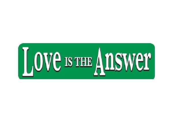 """JR52 New sKool """"Love is the Answer"""" Mini Bumper Sticker"""