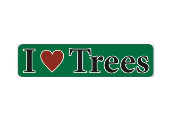 """JR115 New sKool """"I Love Trees"""" Mini Bumper Sticker"""