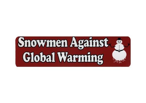 """JR204 New sKool """"Snowmen Against Global Warming"""" Mini Bumper Sticker"""