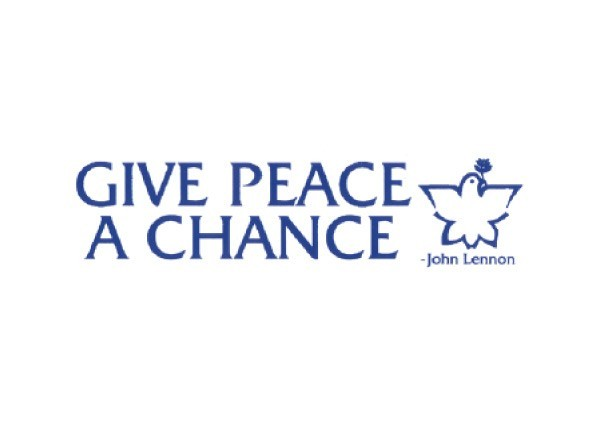 "JR50 Peace Resource Project ""Give Peace A Chance"" Mini Bumper Sticker"