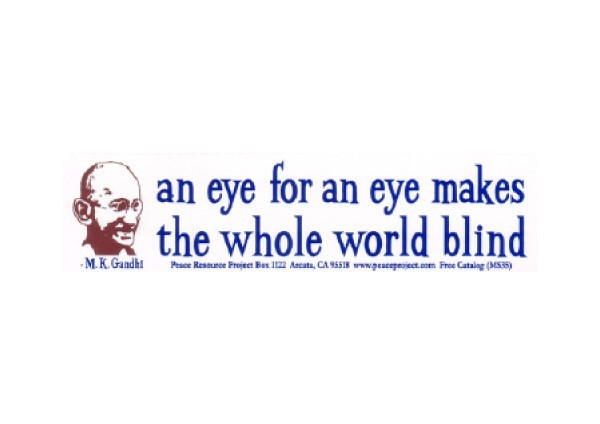 "JR162 Peace Resource Project ""Eye for an Eye"" Mini Bumper Sticker"