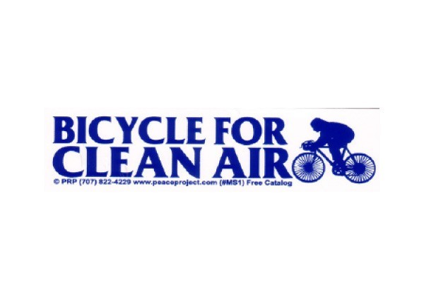 "JR161 Peace Resource Project ""Bicycle For Clean Air"" Mini Bumper Sticker"