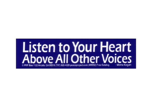 "JR164 Peace Resource Project ""Listen to Your Heart"" Mini Bumper Sticker"