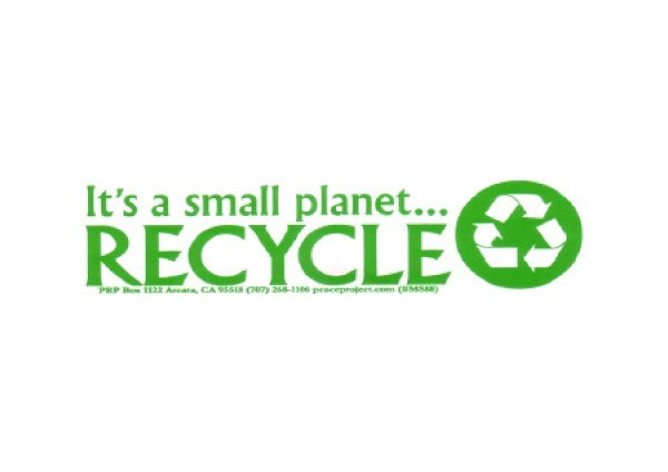 "JR193 Peace Resource Project ""I's A Small Planet, Recycle"" Mini Bumper Sticker"