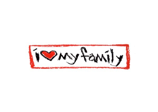 "JR37 Root Concepts ""I Love My Family"" Mini Bumper Sticker"