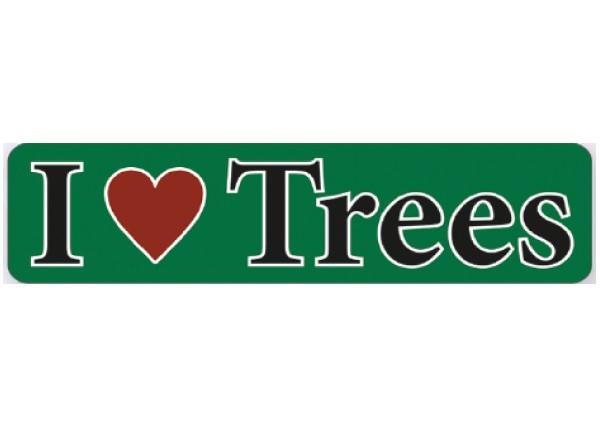 """PC109 New sKool """"I Love trees"""" Bumper Sticker"""