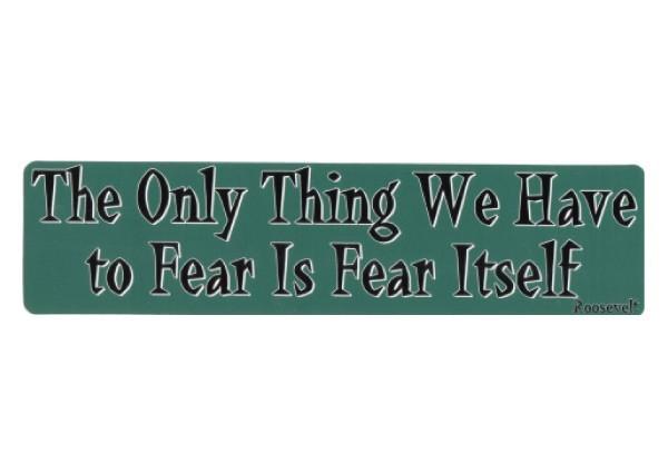 """PC209 New sKool """"Fear is fear ourself"""" Bumper Sticker"""