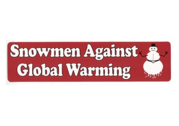 "PC210 New sKool ""Snowmen against Global Warming"" Bumper Sticker"