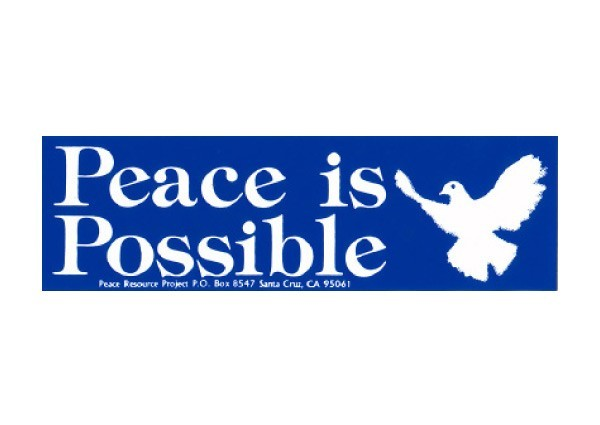"""PC2 Peace Resource Project """"Peace is Possible"""" Bumper Sticker"""