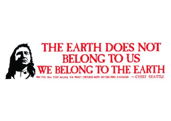 "PC7 Peace Resource Project ""The Earth Does Not Belong To Us"" Bumper Sticker"