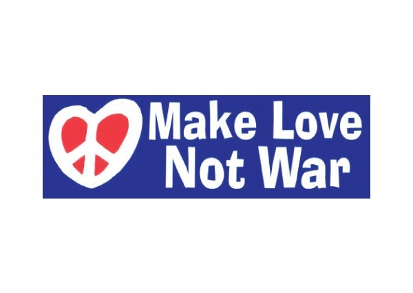 Pc24 peace resource project make love not war bumper sticker