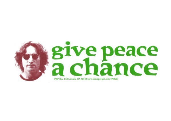 """PC201 Peace Resource Project """"Give Peace a Chance"""" Bumper Sticker"""
