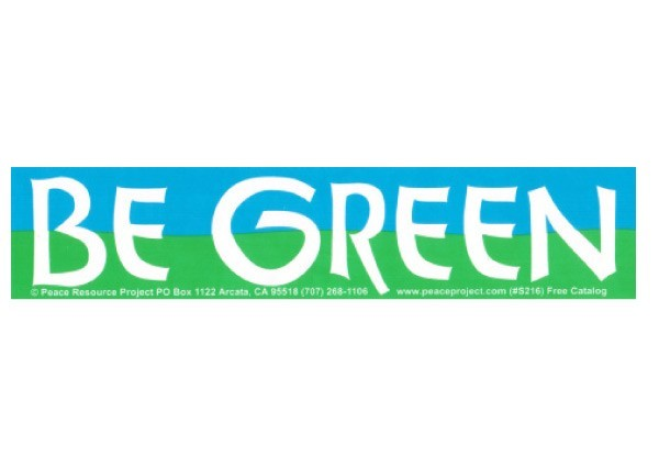 "PC202 Peace Resource Project ""Be Green"" Bumper Sticker"