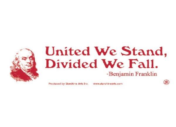 "PC282 Starshine Arts ""United we stand"" Bumper Sticker"