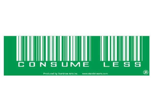 """PC289 Starshine Arts """"Consume Less"""" Bumper Sticker"""
